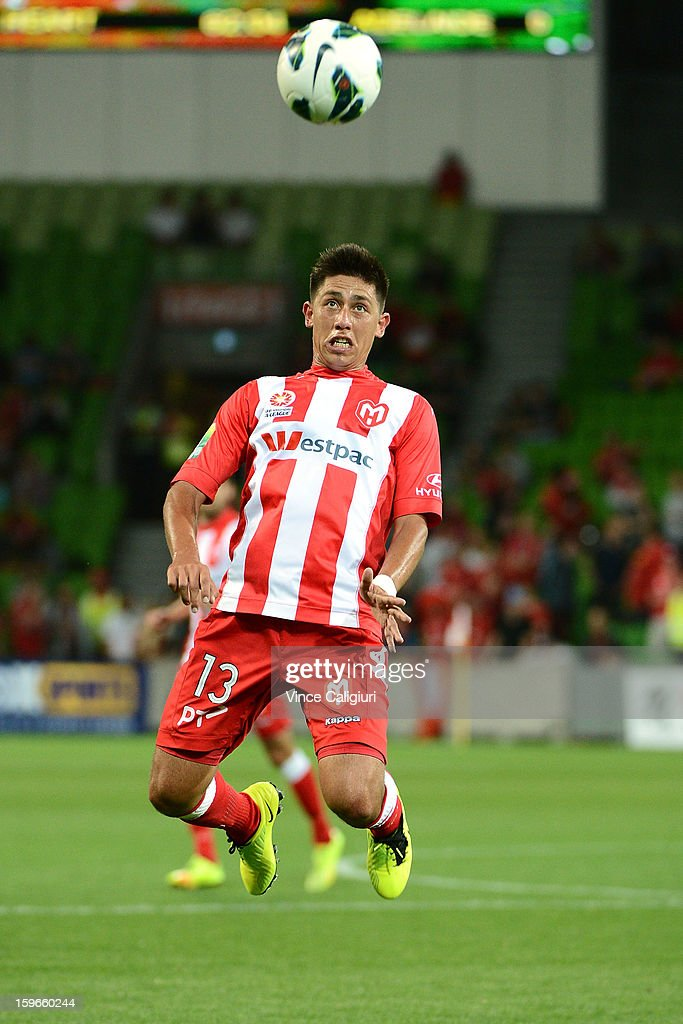 Jonathan Germano of the Heart jumps for a header during the round seventeen A-League match between Melbourne Heart and Adelaide United at AAMI Park on January 18, 2013 in Melbourne, Australia.
