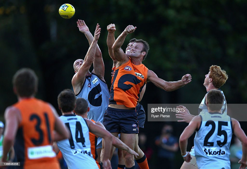 Jonathan Giles and Dean Brogan of the Giants compete for the ball during the Greater Western Sydney Giants IntraClub AFL match at Lakeside Oval on...