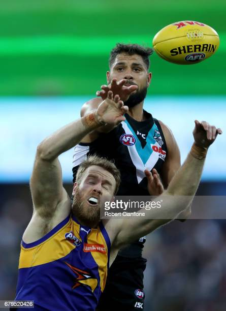Jonathan Giles of the Eagles and Paddy Ryder of the Power compete for the ball during the round seven AFL match between the Port Adelaide Power and...
