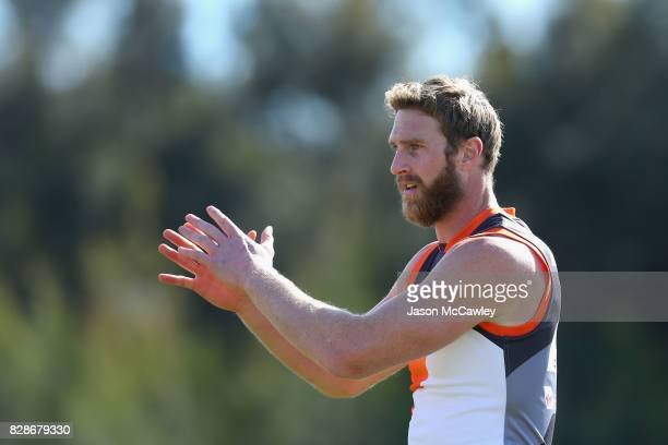 Shane Mumford of the Giants during a Greater Western Sydney Giants AFL training session at Sydney Olympic Park on August 10 2017 in Sydney Australia