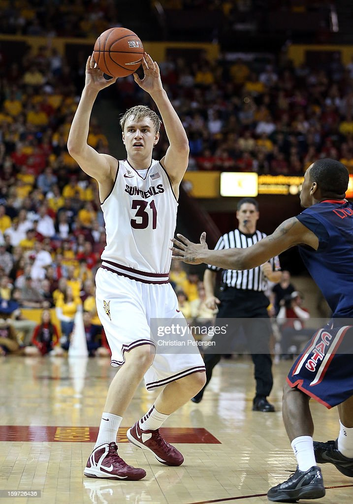 Jonathan Gilling #31 of the Arizona State Sun Devils passes the ball during the first half of the college basketball game against the Arizona Wildcats at Wells Fargo Arena on January 19, 2013 in Tempe, Arizona.