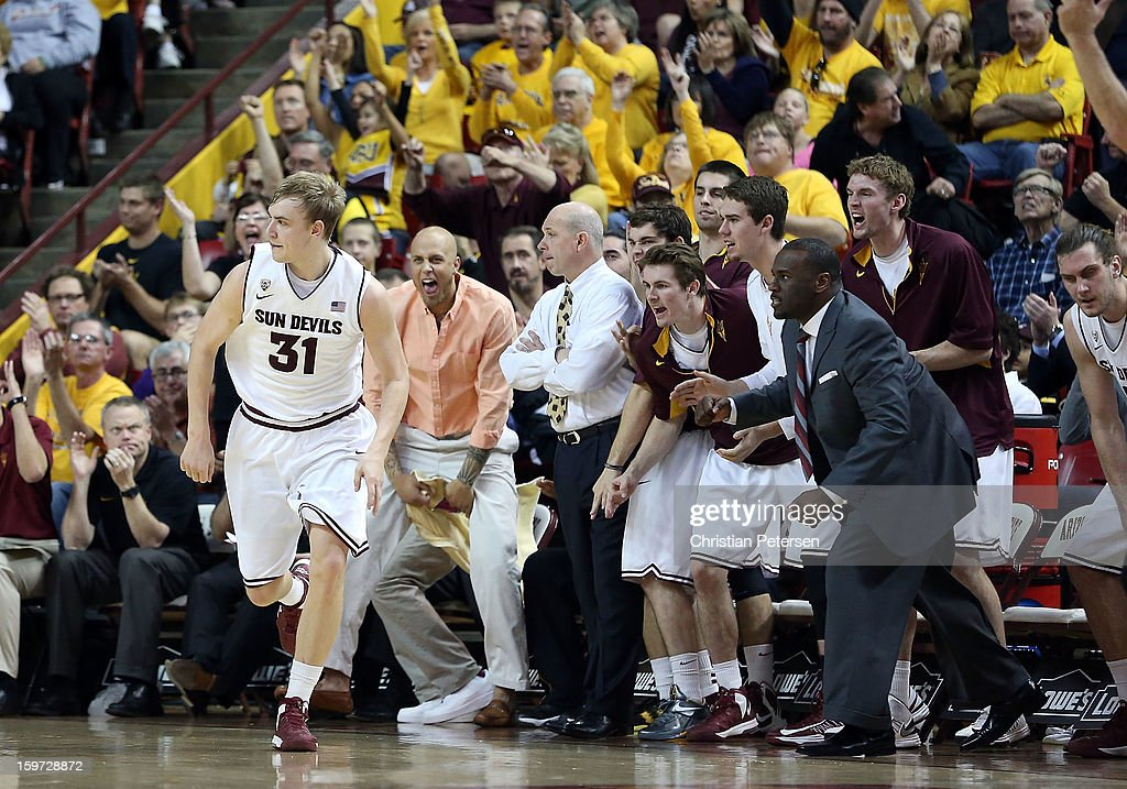 Jonathan Gilling #31 of the Arizona State Sun Devils reacts after hitting a three point shot against the Arizona Wildcats during the college basketball game at Wells Fargo Arena on January 19, 2013 in Tempe, Arizona. The Wildcats defeated the Sun Devils 71-54.