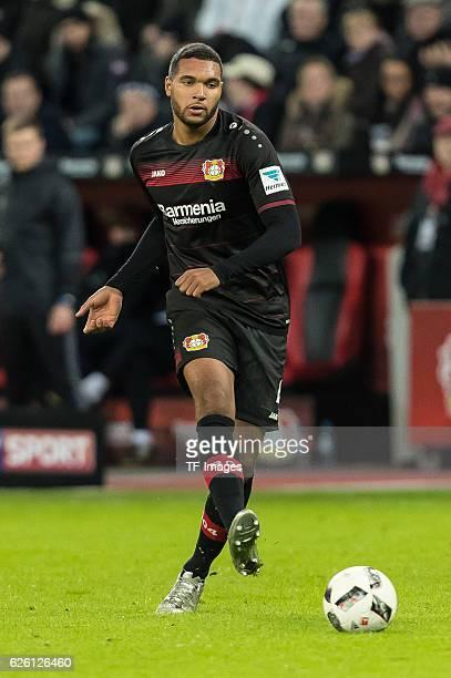 Jonathan Glao Tah of Bayer Leverkusen in action during the Bandesliga match between Bayer 04 Leverkusen and RB Leipzig at BayArena on November 18...
