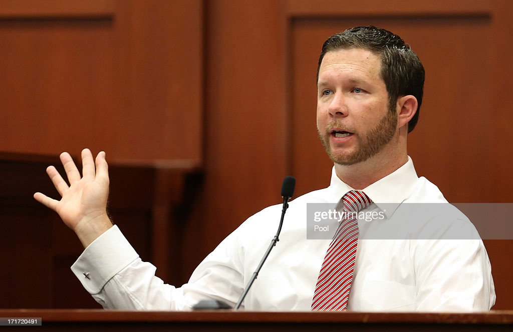 Jonathan Good, a neighbor who witnessed part of the confrontation between George Zimmerman and Trayvon Martin, testifies during the 15th day of Zimmerman's murder trial in Seminole circuit court June 28, 2013 in Sanford, Florida. Zimmerman is charged with second-degree murder for the February 2012 shooting death of 17-year-old Trayvon Martin.