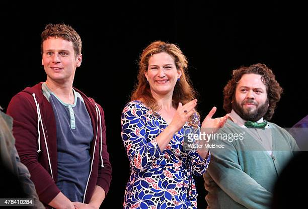 Jonathan Groff Ana Gasteyer and Dan Fogler during the Opening Night Curtain Call for the New York City Center Encores OffCenter production of 'A New...