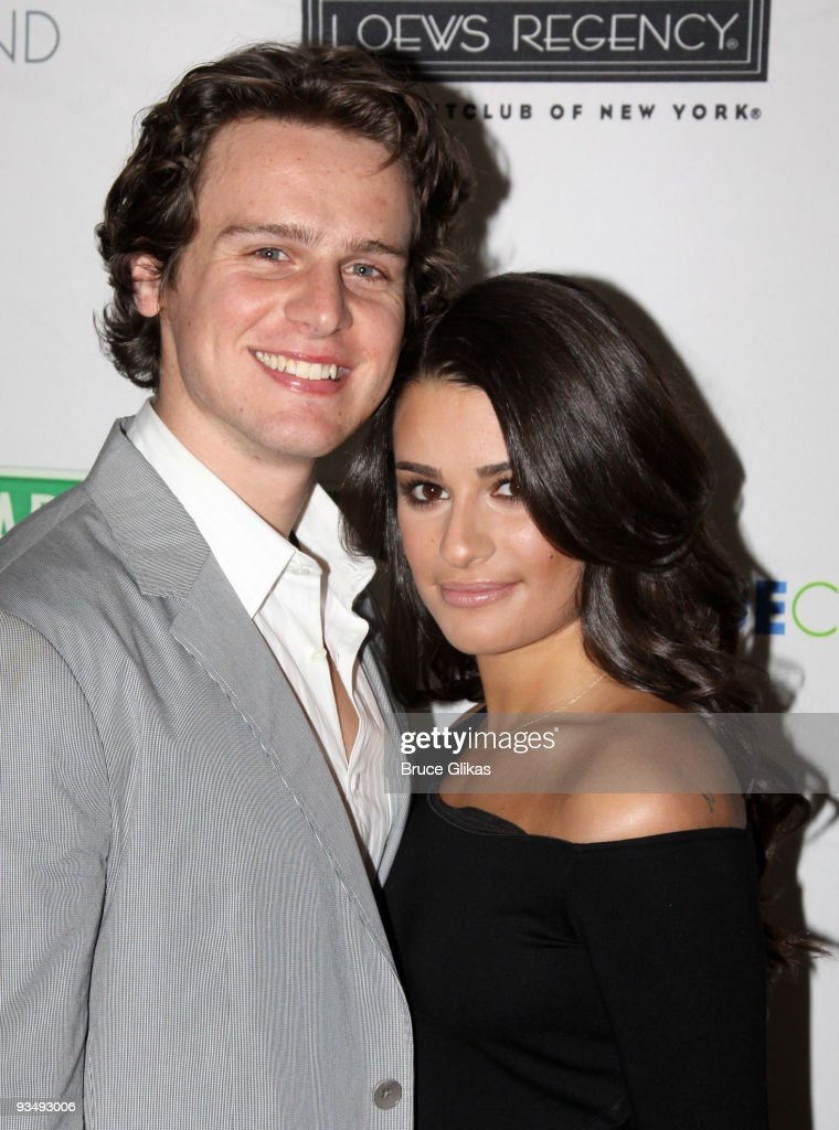 Jonathan Groff and Lea Michele pose at the 'True Colors Cabaret' presented by True Colors Tour Broadway Impact and True Colors Fund at Feinstein's at...