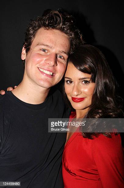 Jonathan Groff and Lea Michele pose backstage at the MCC Theater production 'The Submisson' at The Lortel Theater on September 9 2011 in New York City