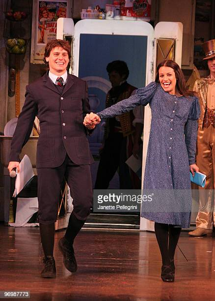 Jonathan Groff and Lea Michelle from Spring Awakening attend the Light the Lights Broadway is Back Concert at the Marquis Theatre on November 30 2007...