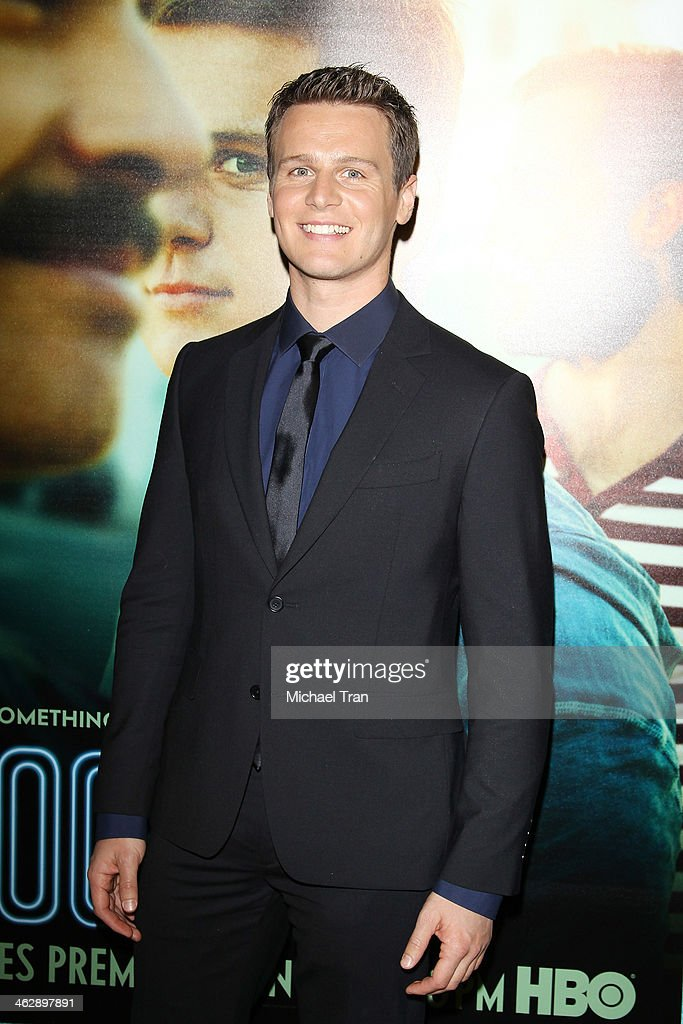 Jonathan Groff arrives at the Los Angeles Premiere of HBO's comedy series 'Looking' held at Paramount Theater on the Paramount Studios lot on January...