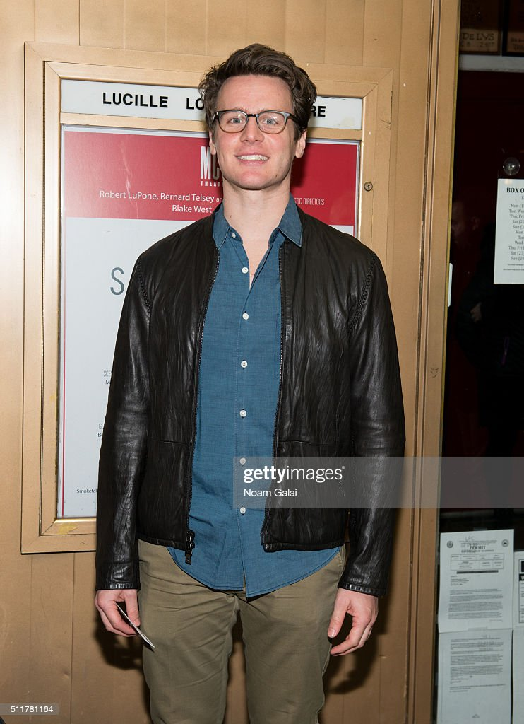 Jonathan Groff attends 'Smokefall' opening night at Lucille Lortel Theatre on February 22 2016 in New York City