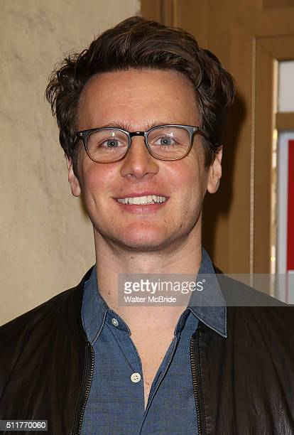 Jonathan Groff attends the OffBroadway opening night performance of 'Smokefall' at Lucille Lortel Theatre on February 22 2016 in New York City