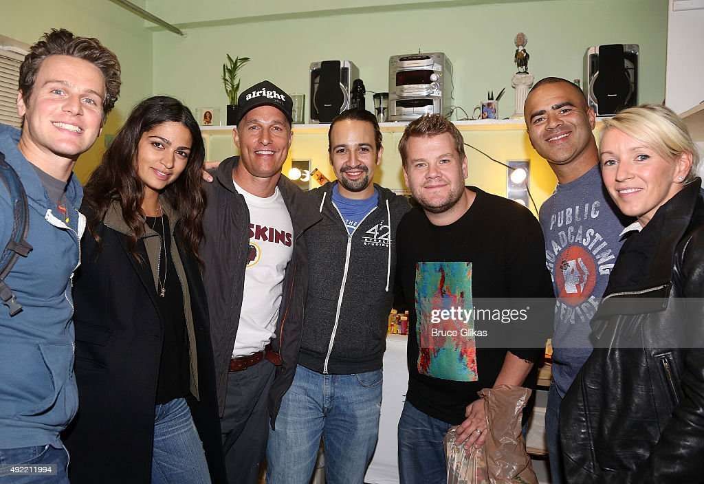 Jonathan Groff Camila Alves Matthew McConaughey LinManuel Miranda James Corden Christopher Jackson and Julia Carey Corden pose backstage at the hit...