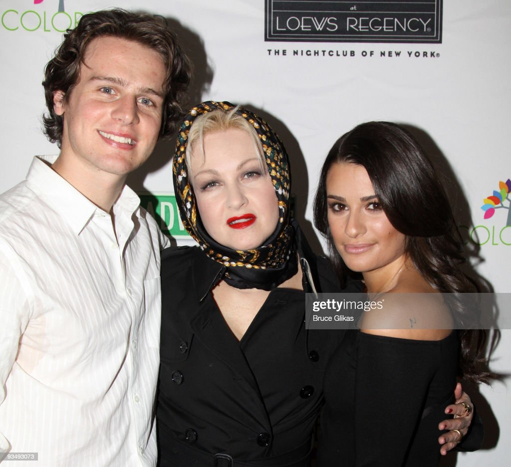<a gi-track='captionPersonalityLinkClicked' href=/galleries/search?phrase=Jonathan+Groff&family=editorial&specificpeople=2994250 ng-click='$event.stopPropagation()'>Jonathan Groff</a>, <a gi-track='captionPersonalityLinkClicked' href=/galleries/search?phrase=Cyndi+Lauper&family=editorial&specificpeople=171290 ng-click='$event.stopPropagation()'>Cyndi Lauper</a> and <a gi-track='captionPersonalityLinkClicked' href=/galleries/search?phrase=Lea+Michele&family=editorial&specificpeople=566514 ng-click='$event.stopPropagation()'>Lea Michele</a> pose at the 'True Colors Cabaret' presented by True Colors Tour, Broadway Impact and True Colors Fund at Feinstein's at the Regency on November 29, 2009 in New York City.