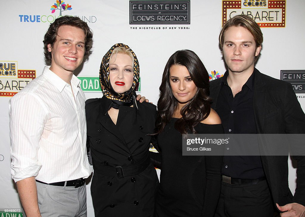 <a gi-track='captionPersonalityLinkClicked' href=/galleries/search?phrase=Jonathan+Groff&family=editorial&specificpeople=2994250 ng-click='$event.stopPropagation()'>Jonathan Groff</a>, <a gi-track='captionPersonalityLinkClicked' href=/galleries/search?phrase=Cyndi+Lauper&family=editorial&specificpeople=171290 ng-click='$event.stopPropagation()'>Cyndi Lauper</a>, <a gi-track='captionPersonalityLinkClicked' href=/galleries/search?phrase=Lea+Michele&family=editorial&specificpeople=566514 ng-click='$event.stopPropagation()'>Lea Michele</a> and <a gi-track='captionPersonalityLinkClicked' href=/galleries/search?phrase=Van+Hansis&family=editorial&specificpeople=718254 ng-click='$event.stopPropagation()'>Van Hansis</a> pose at the 'True Colors Cabaret' presented by True Colors Tour, Broadway Impact and True Colors Fund at Feinstein's at the Regency on November 29, 2009 in New York City.