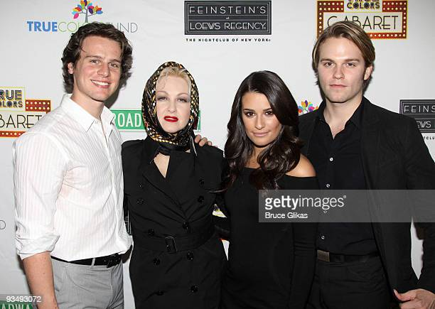Jonathan Groff Cyndi Lauper Lea Michele and Van Hansis pose at the 'True Colors Cabaret' presented by True Colors Tour Broadway Impact and True...
