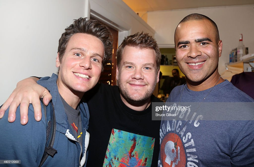 Jonathan Groff James Corden and Christopher Jackson pose backstage at the hit musical 'Hamilton' on Broadway at The Richard Rogers Theater on October...