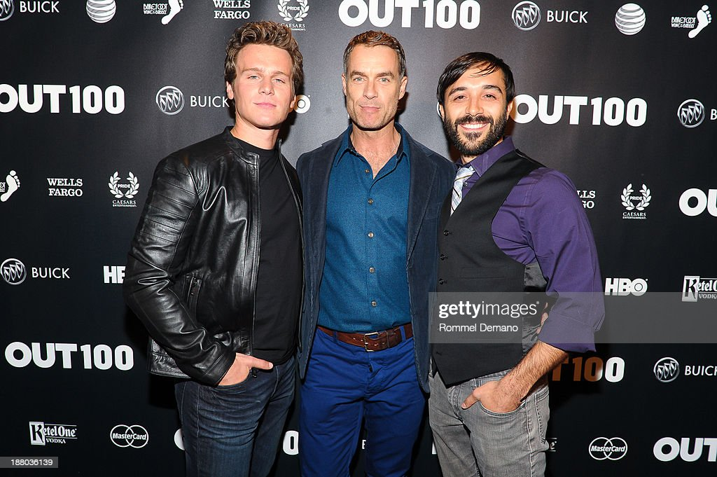 <a gi-track='captionPersonalityLinkClicked' href=/galleries/search?phrase=Jonathan+Groff&family=editorial&specificpeople=2994250 ng-click='$event.stopPropagation()'>Jonathan Groff</a>, Murray Bartlett and Frankie J. Alvarez attend the 2013 OUT100 gala at Terminal 5 on November 14, 2013 in New York City.