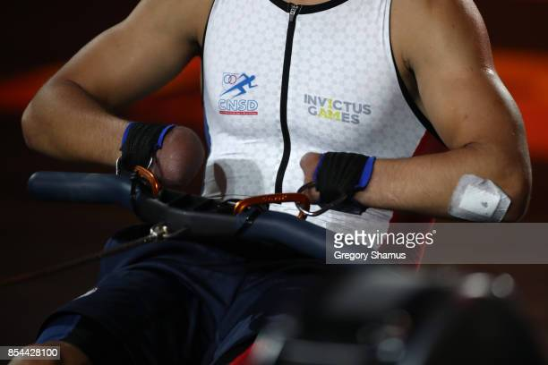 Jonathan Hamou of France competes in the Indoor Rowing Men's IR3 Four Minute Endurance Final during the Invictus Games 2017 at Mattamy Athletic...