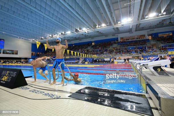 Jonathan Hamou of France reacts after competing in the Men's ISC 50m Freestyle Heat during the Invictus Games 2017 at Toronto Pan Am Sports Centre on...
