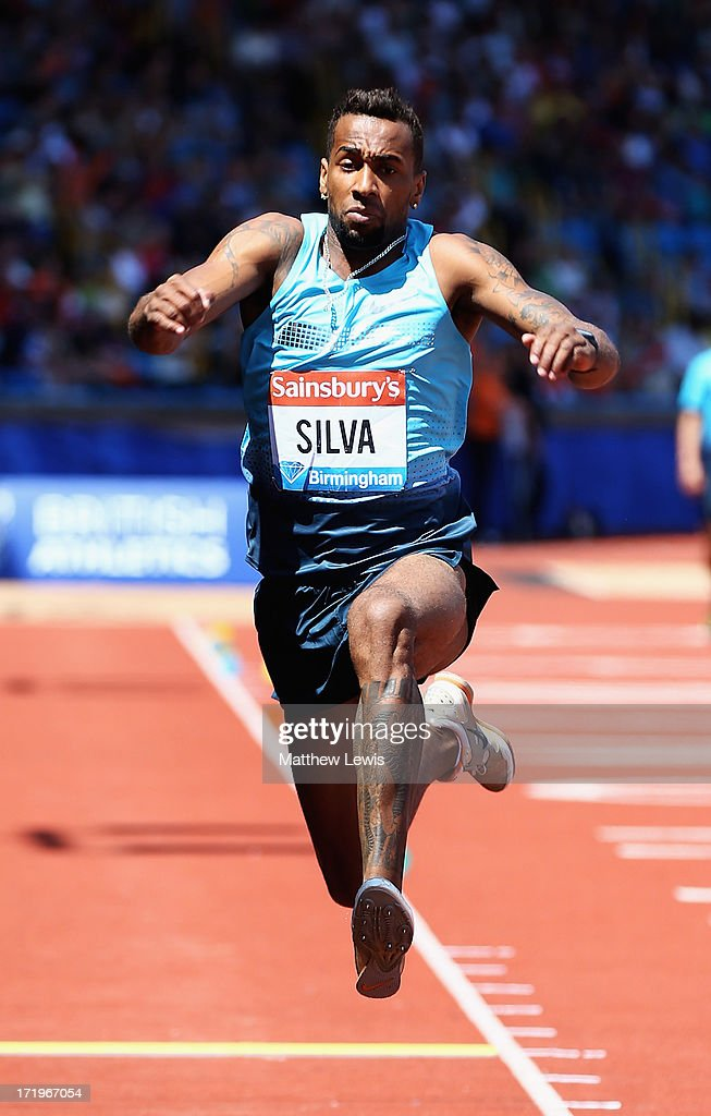 Jonathan Henrique Silva of Brazil in action during the Mens Triple Jump during the Sainsbury's Grand Prix Birmingham IAAF Diamond League at Alexander Stadium on June 30, 2013 in Birmingham, England.