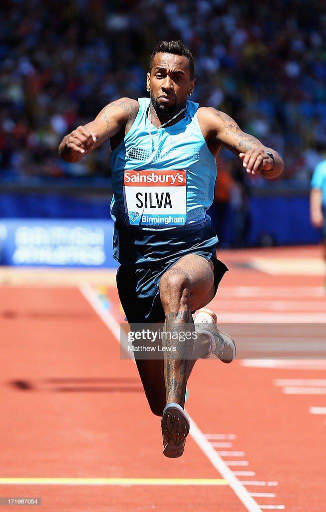 Jonathan Henrique Silva of Brazil in action during the Mens Triple Jump during the Sainsbury's Grand Prix Birmingham IAAF Diamond League at Alexander Stadium on June 30, 2013 in Birmingham, England.