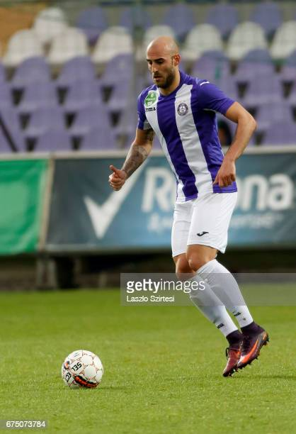Jonathan Heris of Ujpest FC controls the ball during the Hungarian OTP Bank Liga match between Ujpest FC and MTK Budapest at Ferenc Szusza Stadium on...