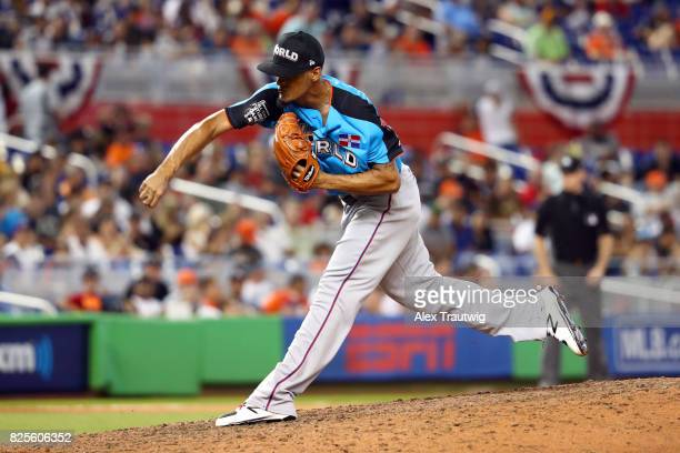 Jonathan Hernandez of the World Team pitches during the SirusXM AllStar Futures Game at Marlins Park on Sunday July 9 2017 in Miami Florida