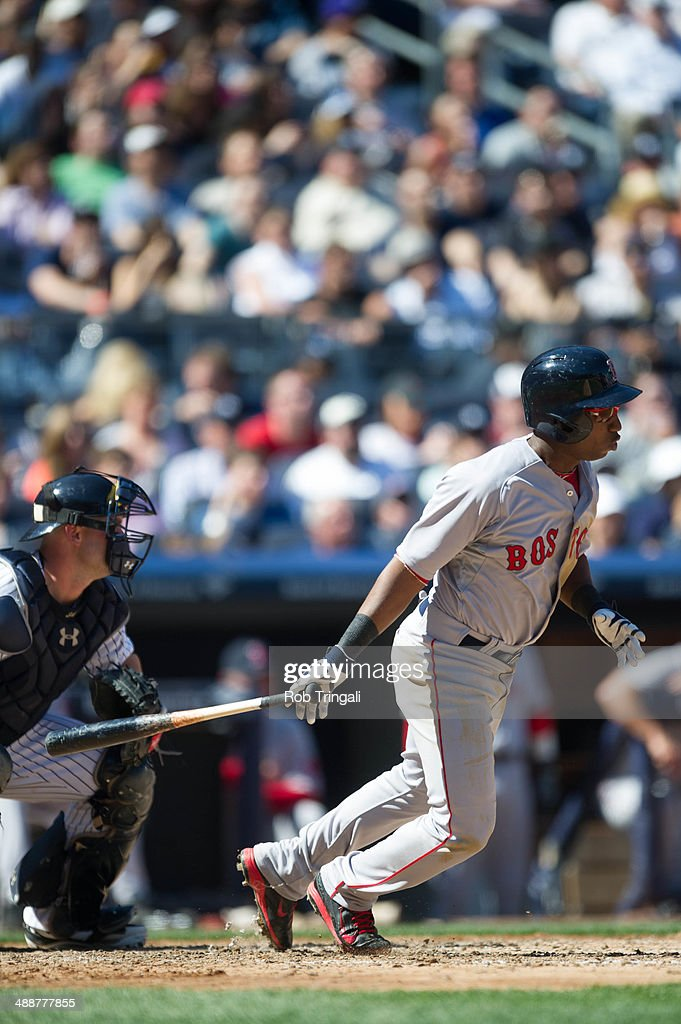 Jonathan Herrera of the Boston Red Sox bats during the game against the New York Yankees at Yankee Stadium on Saturday April 12 2014 in the Bronx...