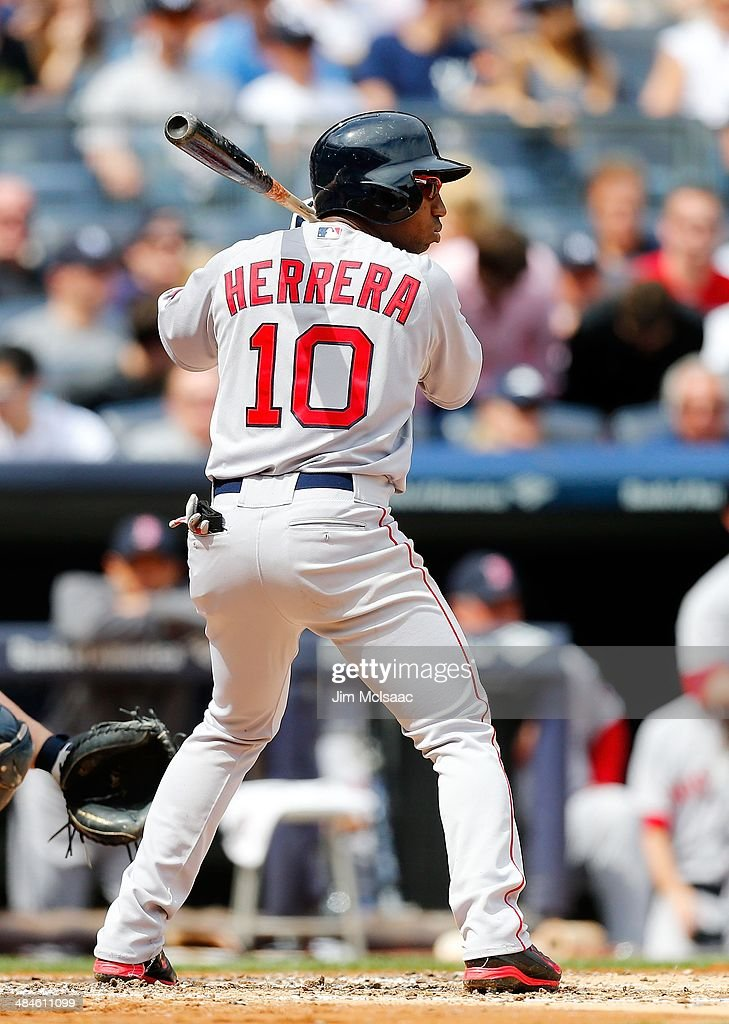 Jonathan Herrera of the Boston Red Sox in action against the New York Yankees at Yankee Stadium on April 12 2014 in the Bronx borough of New York...