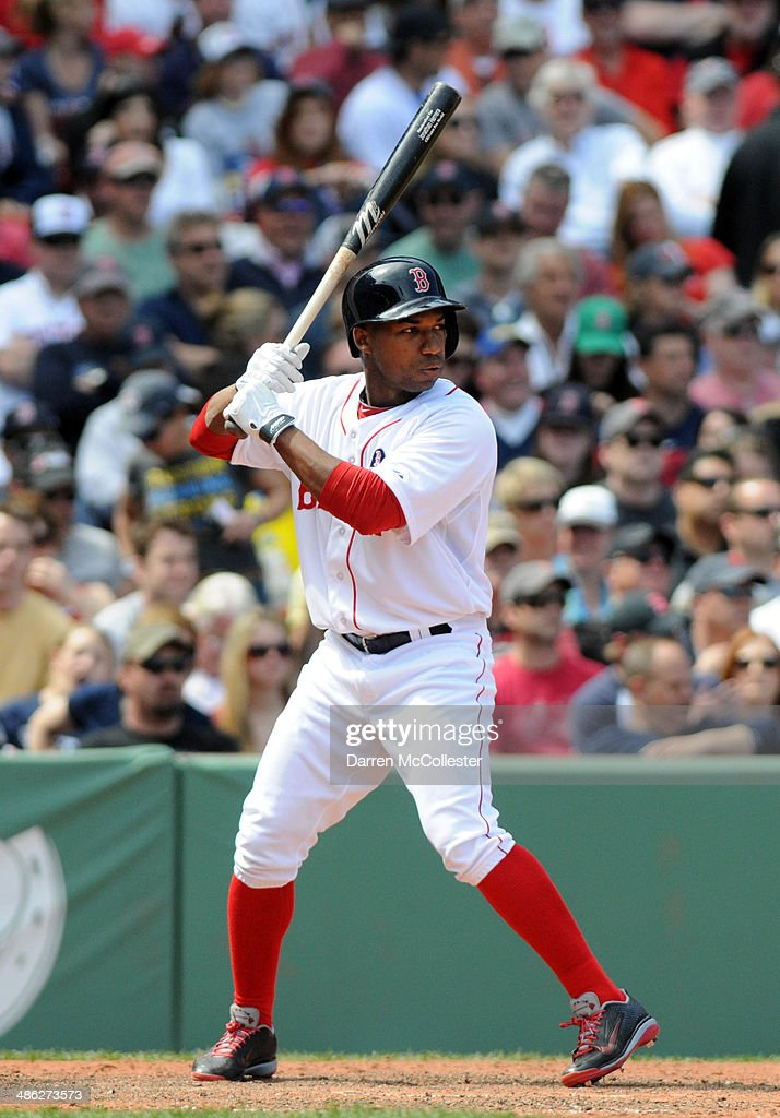 Jonathan Herrera of the Boston Red Sox pinch hits in the eighth inning against the Baltimore Orioles at Fenway Park April 21 2014 in Boston...