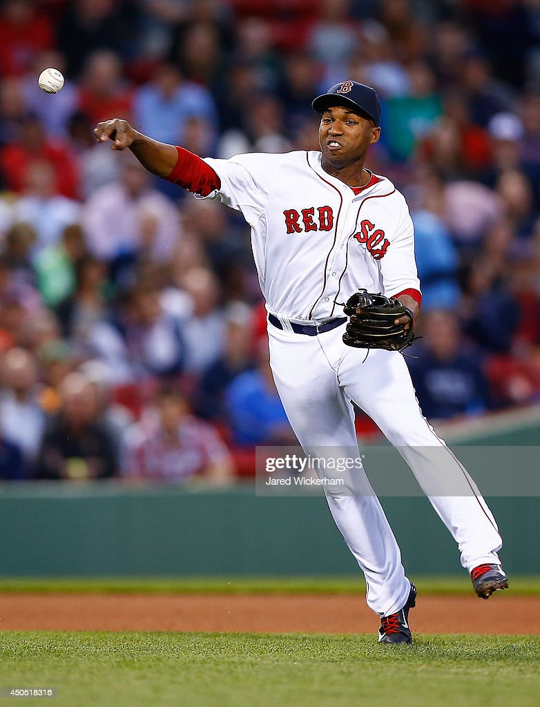 Jonathan Herrera of the Boston Red Sox throws to first base against the Cleveland Indians during the game at Fenway Park on June 12 2014 in Boston...
