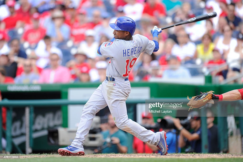 Jonathan Herrera of the Chicago Cubs bats during a baseball game against the Washington Nationals at Nationals Park on June 6 2015 in Washington DC