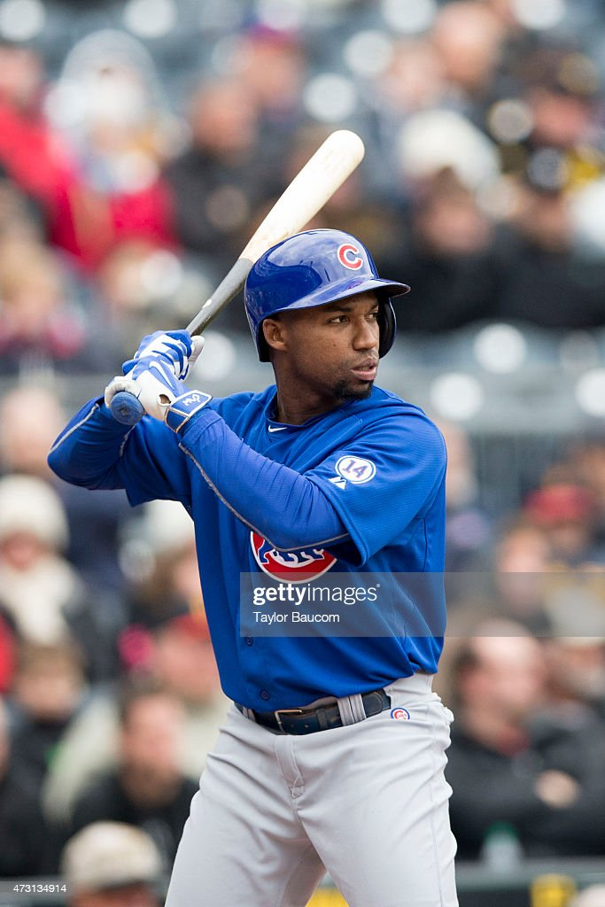 Jonathan Herrera of the Chicago Cubs bats during the game against the Pittsburgh Pirates at PNC Park on Thursday April 23 2015 in Pittsburgh...