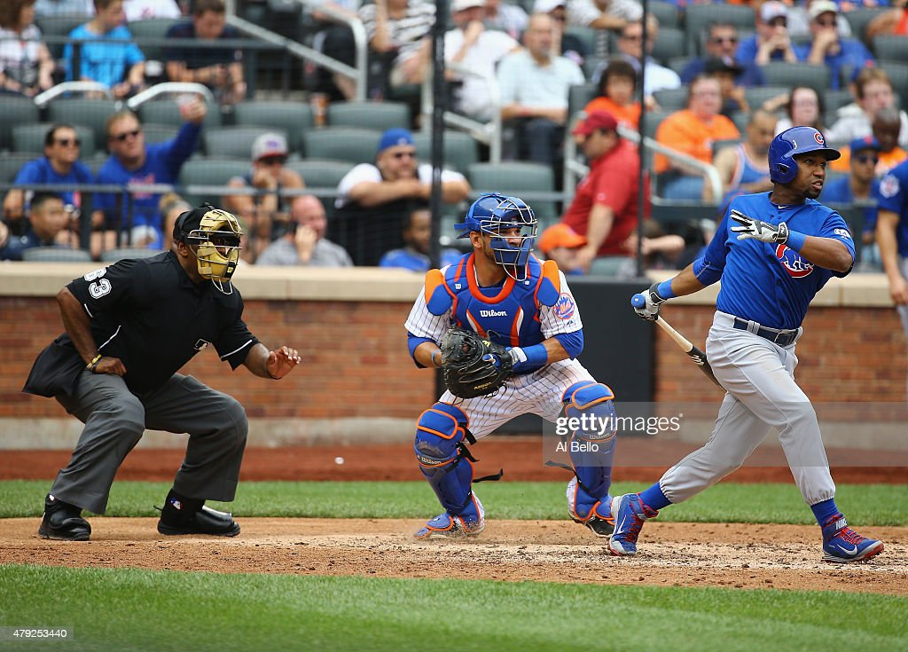 Jonathan Herrera of the Chicago Cubs hits a two run home run in the sixth inning against the New York Mets during their game at Citi Field on July 2...