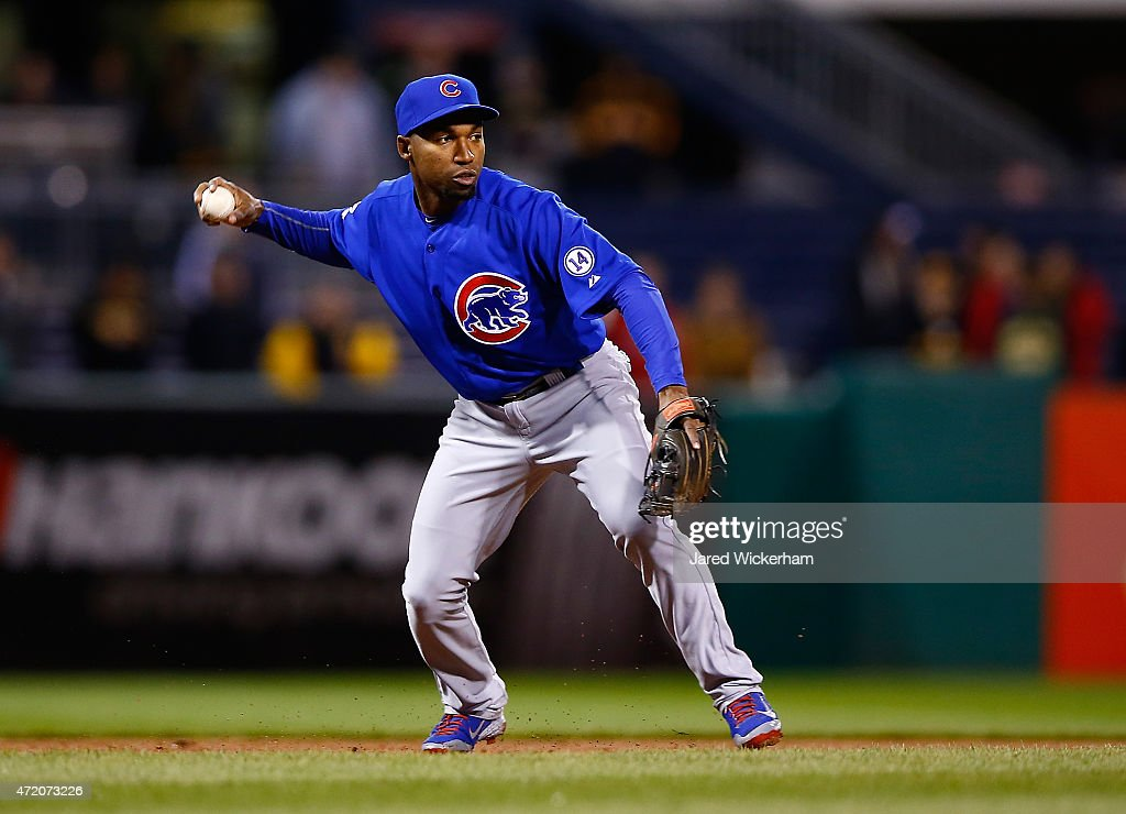 Jonathan Herrera of the Chicago Cubs in action against the Pittsburgh Pirates during the game at PNC Park on April 22 2015 in Pittsburgh Pennsylvania