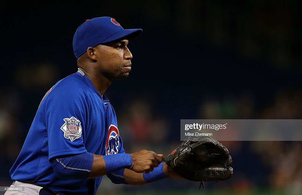 Jonathan Herrera of the Chicago Cubs looks on during a game against the Miami Marlins at Marlins Park on June 2 2015 in Miami Florida