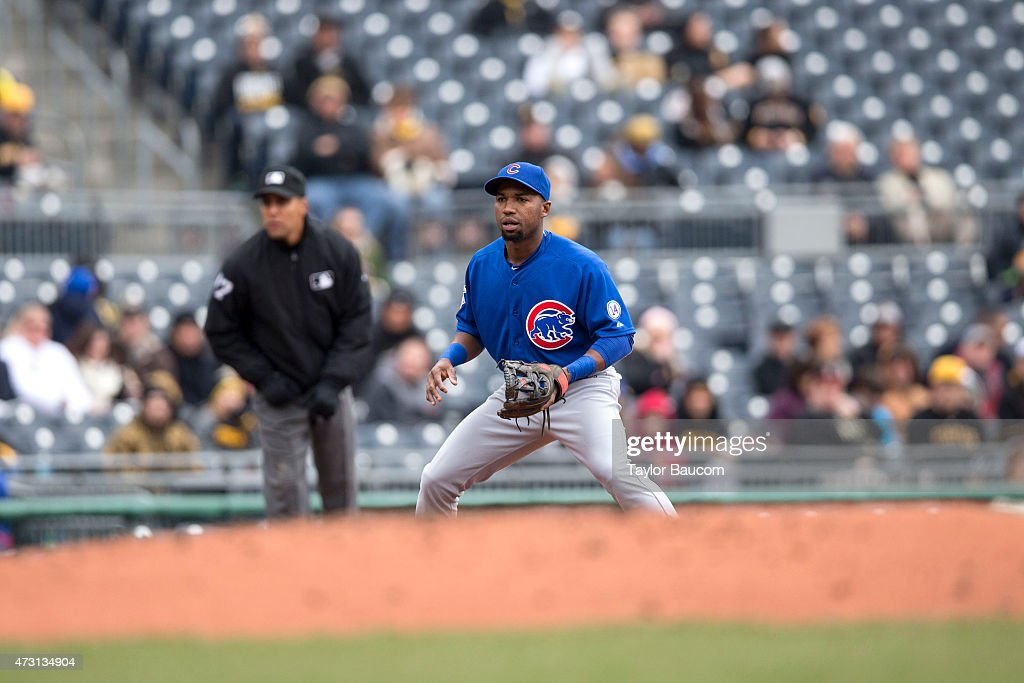 Jonathan Herrera of the Chicago Cubs plays third base during the game against the Pittsburgh Pirates at PNC Park on Thursday April 23 2015 in...