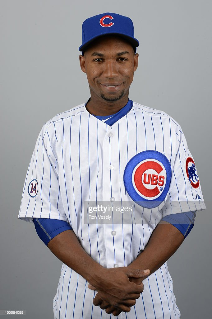 Jonathan Herrera of the Chicago Cubs poses during Photo Day on Monday March 2 2015 at Sloan Park in Mesa Arizona