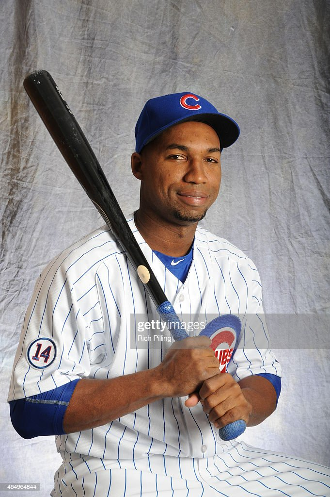Jonathan Herrera of the Chicago Cubs poses for a portrait during Photo Day on March 2 2015 at Sloan Park in Mesa Arizona