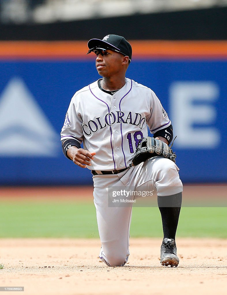 Jonathan Herrera of the Colorado Rockies in action against the New York Mets at Citi Field on August 8 2013 in the Flushing neighborhood of the...
