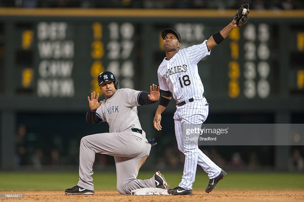 <a gi-track='captionPersonalityLinkClicked' href=/galleries/search?phrase=Jonathan+Herrera&family=editorial&specificpeople=4175178 ng-click='$event.stopPropagation()'>Jonathan Herrera</a> #18 of the Colorado Rockies looks frustrated after allowing <a gi-track='captionPersonalityLinkClicked' href=/galleries/search?phrase=Vernon+Wells&family=editorial&specificpeople=212943 ng-click='$event.stopPropagation()'>Vernon Wells</a> #12 of the New York Yankees to steal second base in the ninth inning of a game at Coors Field on May 8, 2013 in Denver, Colorado. The Yankees beat the Rockies 3-2.