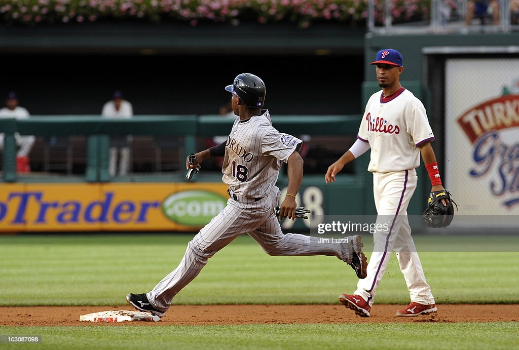 Jonathan Herrera of the Colorado Rockies runs the bases against the Philadelphia Phillies on July 25 2010 at Citizens Bank Park in Philadelphia...