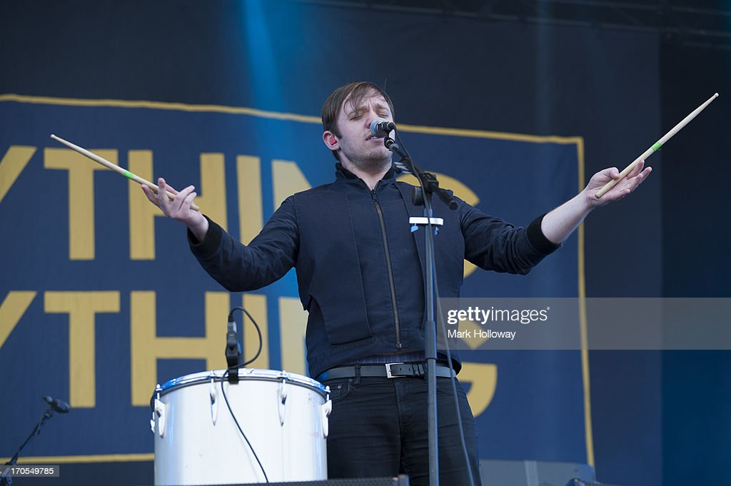 Jonathan Higgs of everything Everything performs on stage on Day 2 of Isle Of Wight Festival 2013 at Seaclose Park on June 14, 2013 in Newport, Isle of Wight.