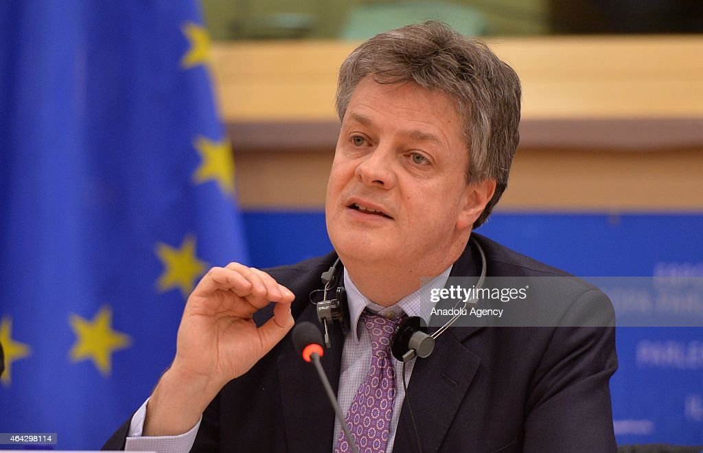 Jonathan Hill European commissioner for Financial Stability Financial Services and Capital Markets Union holds a press conference at EU Parliament...