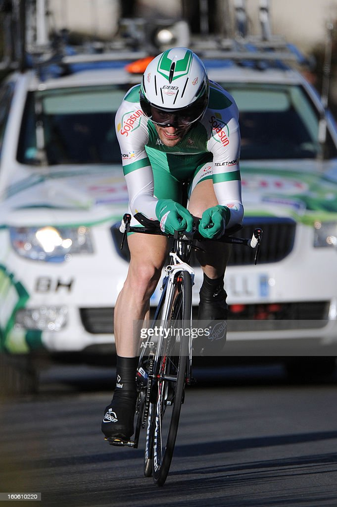 Jonathan Hivert of France rides during the fifth stage of the 43rd edition of the Etoile de Besseges cycling race on February 3, 2013 in Ales, southern France.