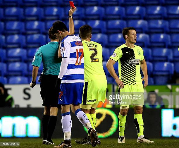 Jonathan Hogg of Huddersfield is sent off by referee Oliver Langford during The Emirates FA Cup Second Round match between Reading and Huddersfield...