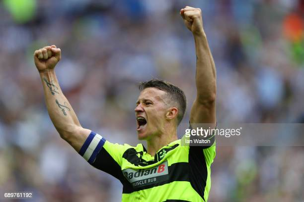 Jonathan Hogg of Huddersfield Town celebrates as his side win the penalty shoot out and promotion to the Premier League during the Sky Bet...