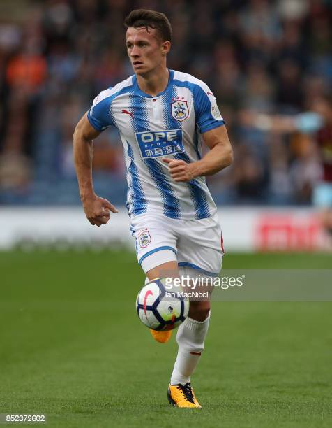 Jonathan Hogg of Huddersfield Town controls the ball during the Premier League match between Burnley and Huddersfield Town at Turf Moor on September...