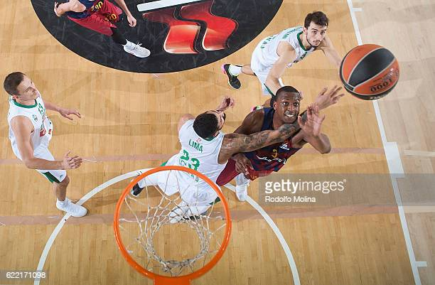 Jonathan Holmes #3 of FC Barcelona Lassa in action during the 2016/2017 Turkish Airlines EuroLeague Regular Season Round 6 game between FC Barcelona...