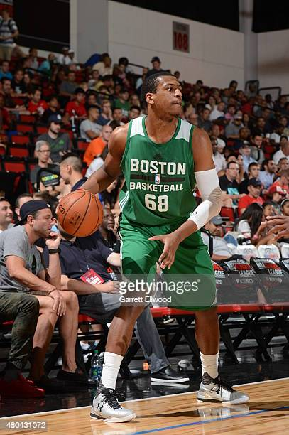 Jonathan Holmes of the Boston Celtics handles the ball against the Portland Trail Blazers on July 11 2015 at the Cox Pavilion in Las Vegas Nevada...